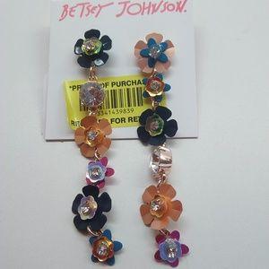 Betsey Johnson New Mismatch Linear Flower Earrings